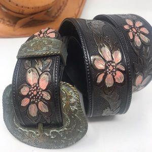 Vintage Tooled Leather Belt 1996